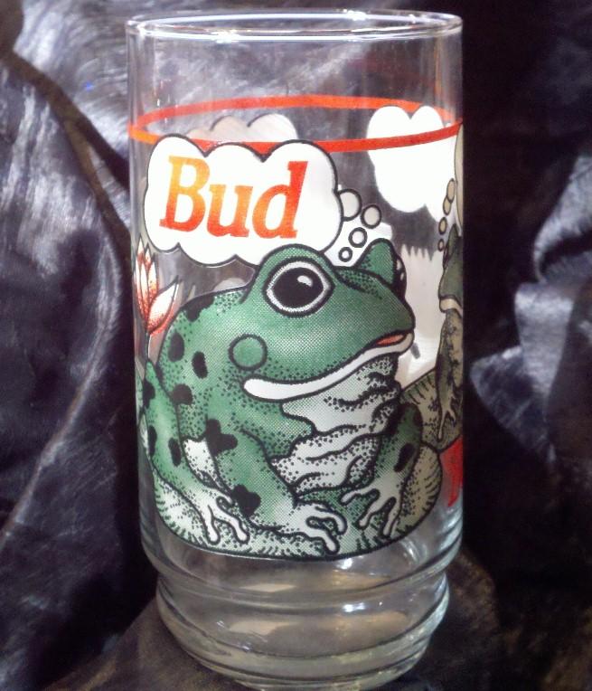 Bud Weis Er Frog Glass Tumbler Budweiser Beer 1995 Frogs