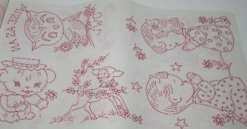 Juvenile jamboree vintage tri chem liquid embroidery