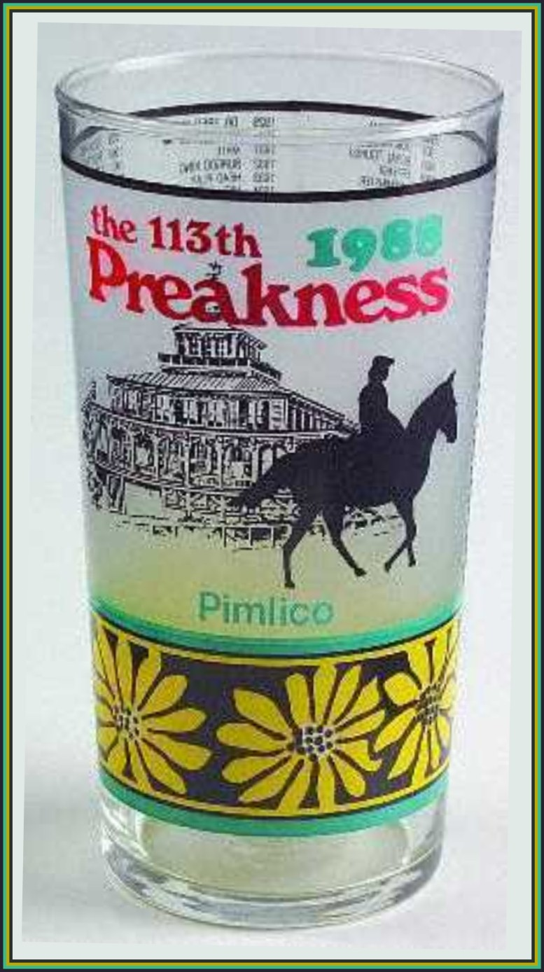Vintage 1988 Preakness Stakes 113th Drinking Glass Tumbler Horse Race