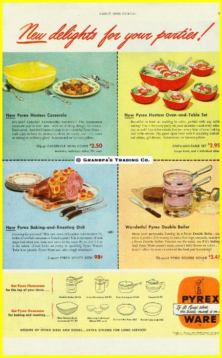 Vintage-PYREX-1949-COLOR-Magazine-Print-Ad-Ovenware-Flameware-Hostess-w-Prices
