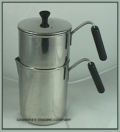 Vintage-Stainless-Steel-Drip-Coffee-Pot-Bakelite-Handle